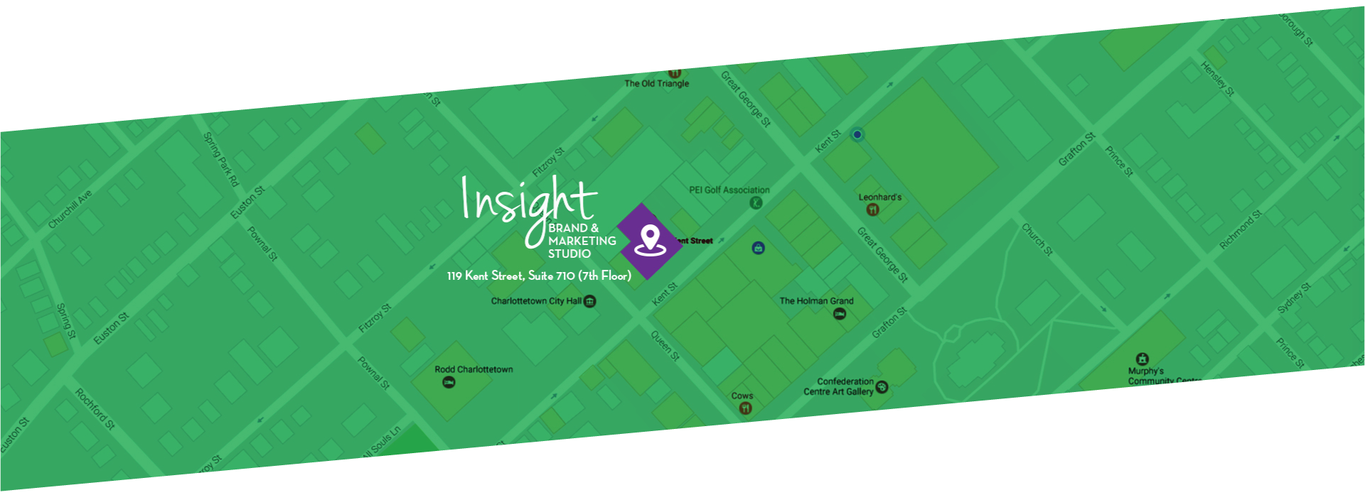 A map that displays where our offices are located, which is 119 Kent Street in Charlottetown PEI.